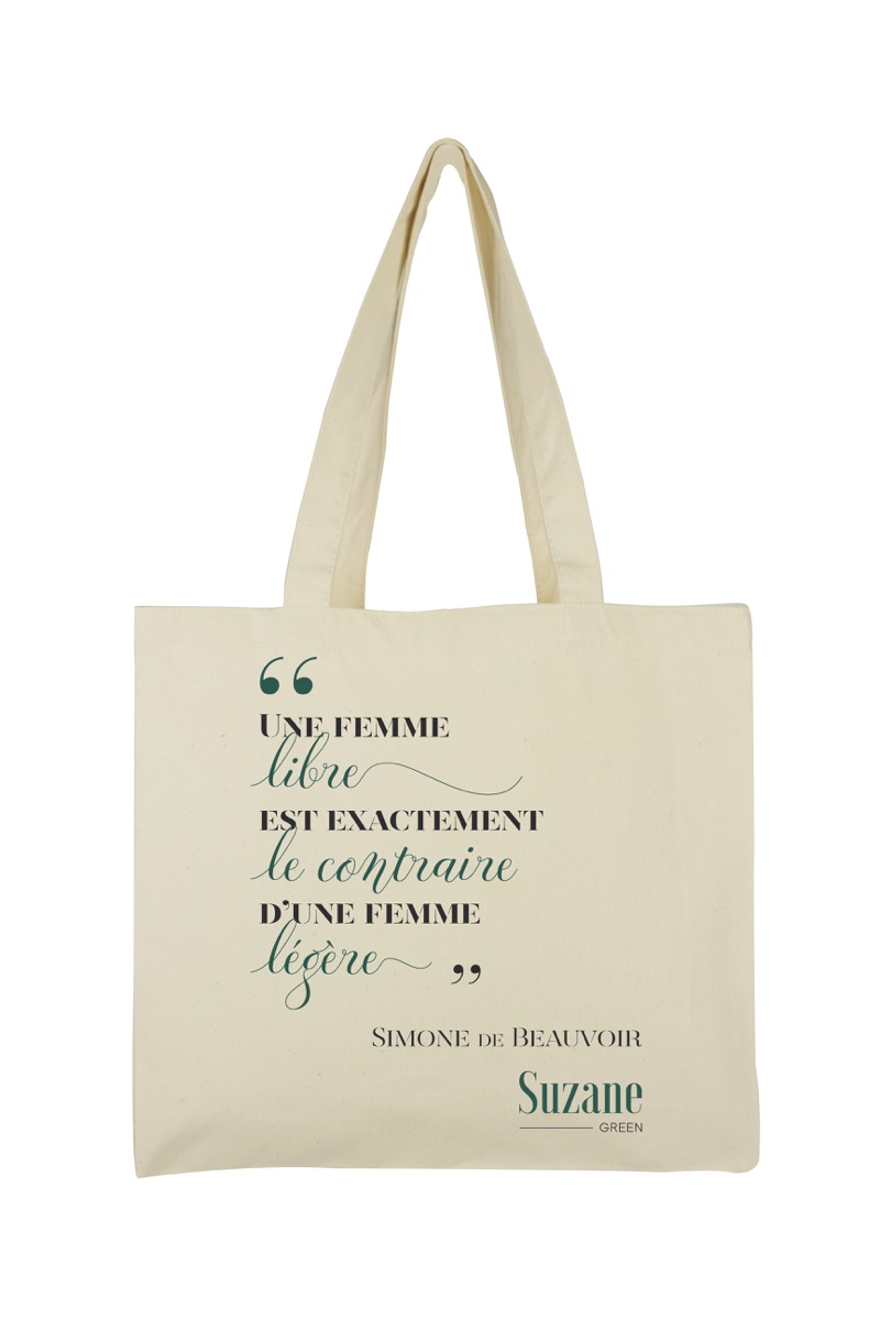 tote bag en coton bio la femme libre suzane green. Black Bedroom Furniture Sets. Home Design Ideas